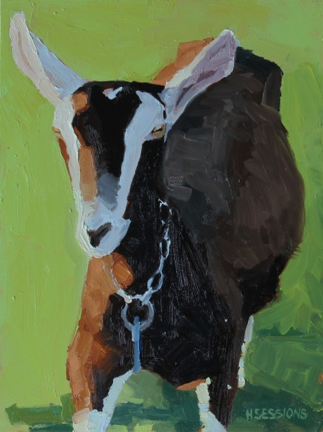 sessions_browngoatstudywithgreen_oilonpanel_9x12