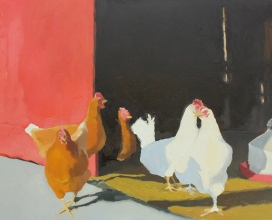 Chickens in Doorway with Waterer II