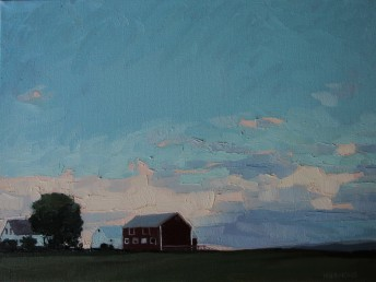 sessions.oiloncanvas.route30farmstead,latedaylowclouds.12x16